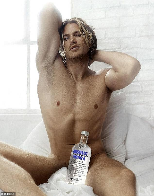 Who could forget? Jason's character famously posed nude for a fictional Absolut Vodka ad campaign on the show (pictured)