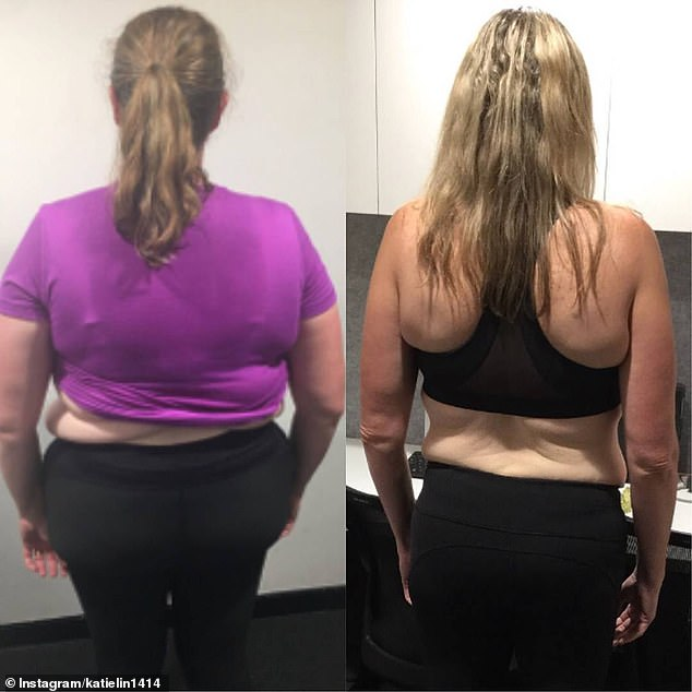 In a typical day Katie, who is vegan, will supplement her protein needs with shakes and bars, to ensure she's eating enough calories (pictured in 2017 left and 2018 right)