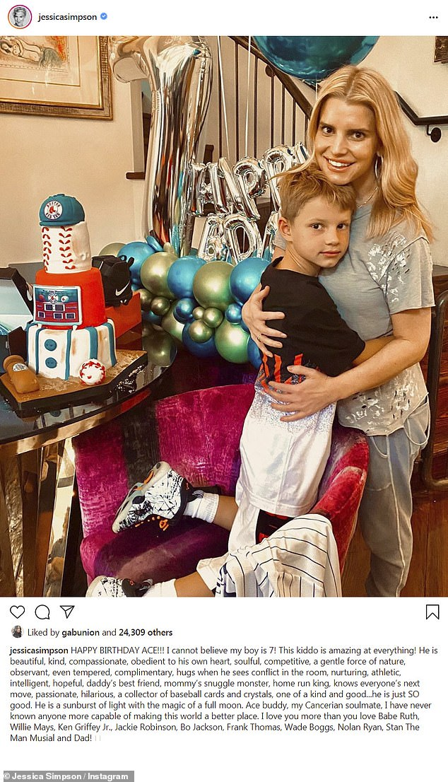 Celebration:Jessica Simpson, 39, celebrated her son Ace's seventh birthday Tuesday with an array of heartwarming family pics she posted to Instagram