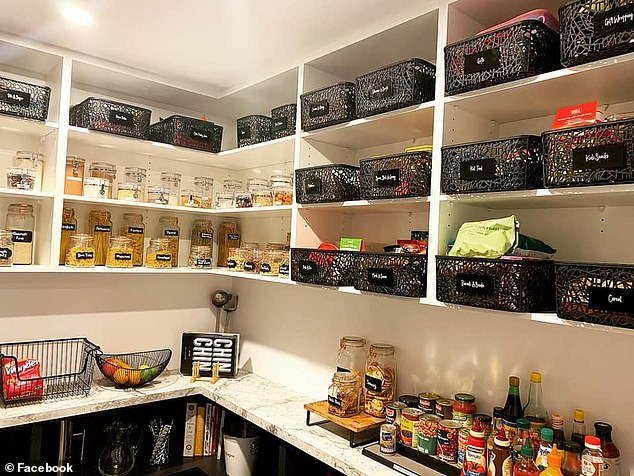 The woman, from Melbourne, posted several photos of her recently renovated pantry to an organisation Facebook page that showed dry ingredients with their own labels, baskets for packet snacks and a row of appliances set on marble benchtops