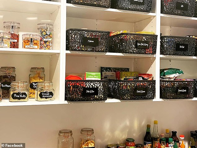 The photos captured the attention of thousands online, who said they were 'exhausted' just looking at the photos and questioned how long the tidy pantry would stay that way