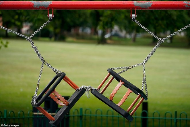 Children's play swings remained locked and chained, due to the coronavirus pandemic, in Spinney Hill Park, Leicester today