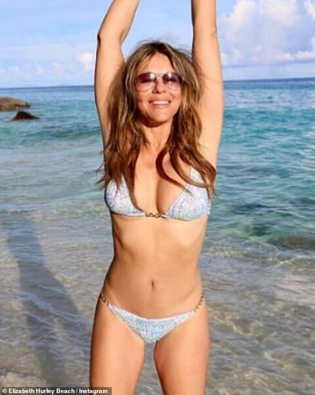 Strong:Elizabeth Hurley took to Instagram on Tuesday to share a bikini-clad snap, one week after her ex-boyfriend Steve Bing's tragic suicide