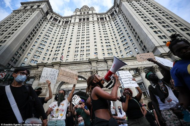 """Black Lives Matter protestors continue to congregate at City Hall as part of the """"Defund NYPD"""" and """"Occupy City Hall"""" movement in New York"""