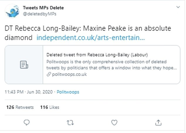 But the tweet, which described Ms Peake as 'an absolute diamond' was only removed from her Twitter feed late last night, as recorded by a Twitter account which monitors MPs deleted tweets