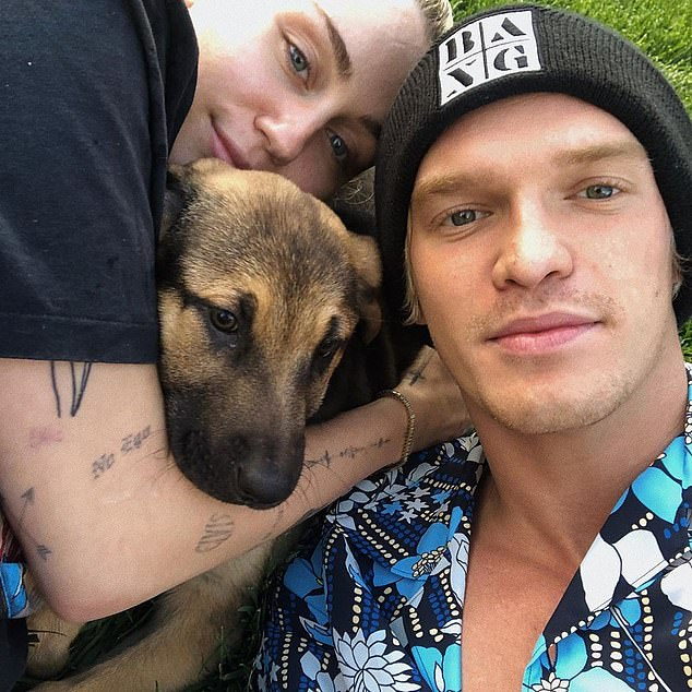 Change:It comes as he recently revealed that he's been sober ever since finding love with his girlfriend, Miley Cyrus (left)