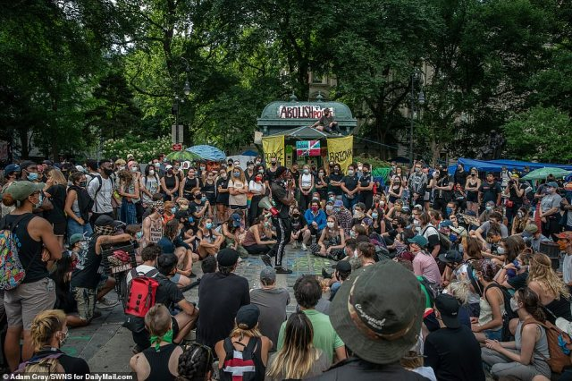 Protesters have occupied City Hall Park day and night for at least a week calling for the city's police budget to be slashed