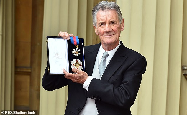Sir Michael Palin (pictured), who was appointed a Knight Commander of the Order of St George and St Michael in 2019 for 'services to travel, culture and geography', has now backed calls to change the design - his features the new design.