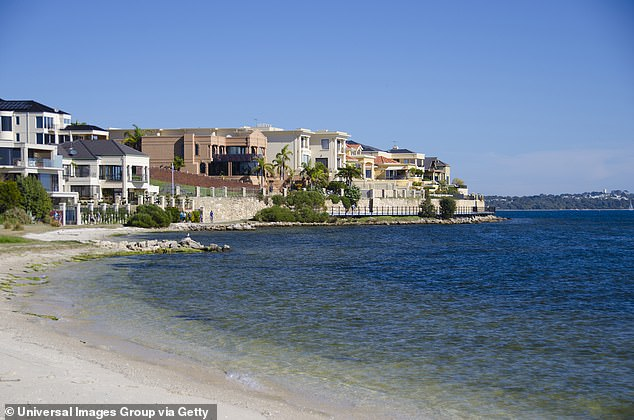 Upmarket areas of Perth along the Swan River (pictured) last month also suffered a 2.1 per cent plummet in property prices - a level much more severe than the city's overall 1.1 per cent drop