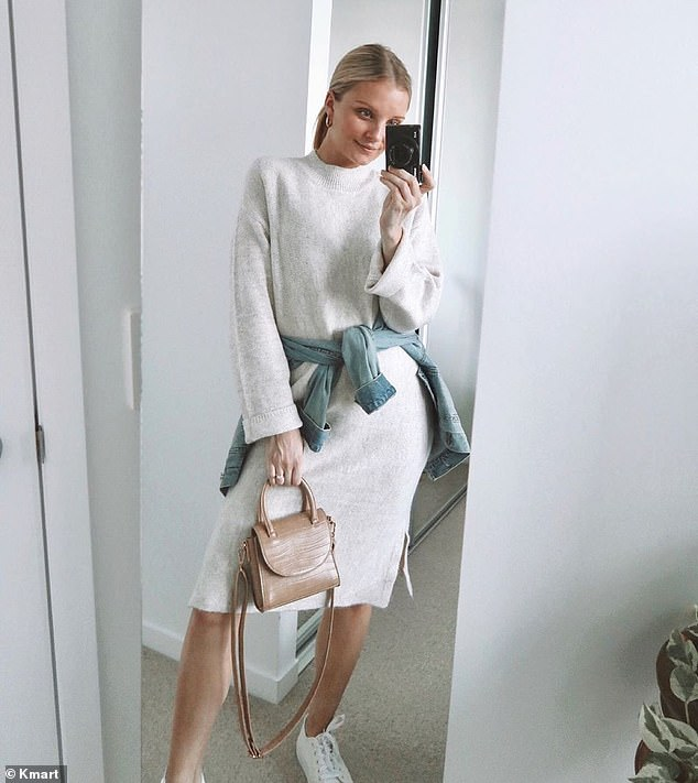 Ms Allen in a casual look built around the $25 Crew Neck dress, with neutral accessories and a light-wash denim jacket around her waist