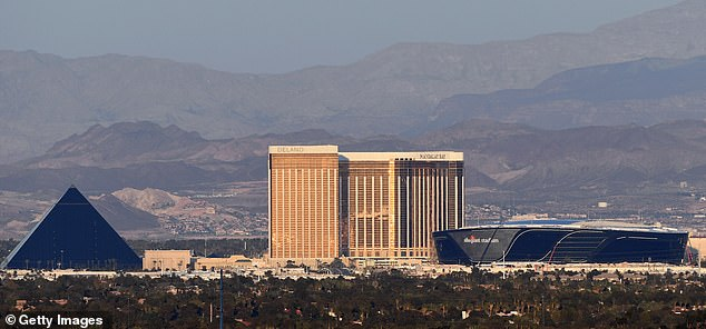 The new home of the Las Vegas Raiders (right) is located near Mandalay Bay Resort (centre)