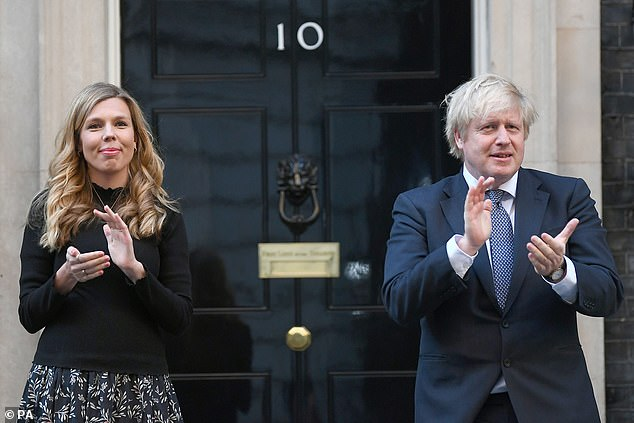 Mr Johnson said he is planning a night out with his fiancée Carrie Symonds (above, on May 14)