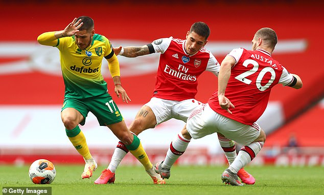 Arsenal defender Hector Bellerin (centre) believes they can still reach the Champions League