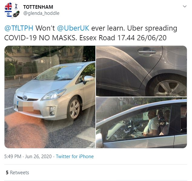 A London taxi driver tweeted a photo of what he claimed to be an Uber vehicle where the driver wasn't wearing a mask