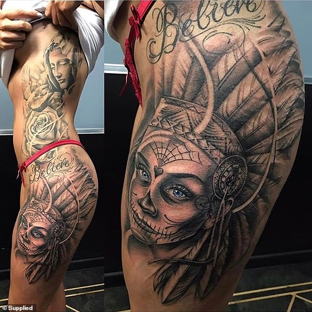 Living art:The left side of Arabella's body is adorned with a woman in an intricate Native American headdress with piercing blue eyes, a design of the Virgin Mary, what appears to be a rose and the motivational words 'believe'