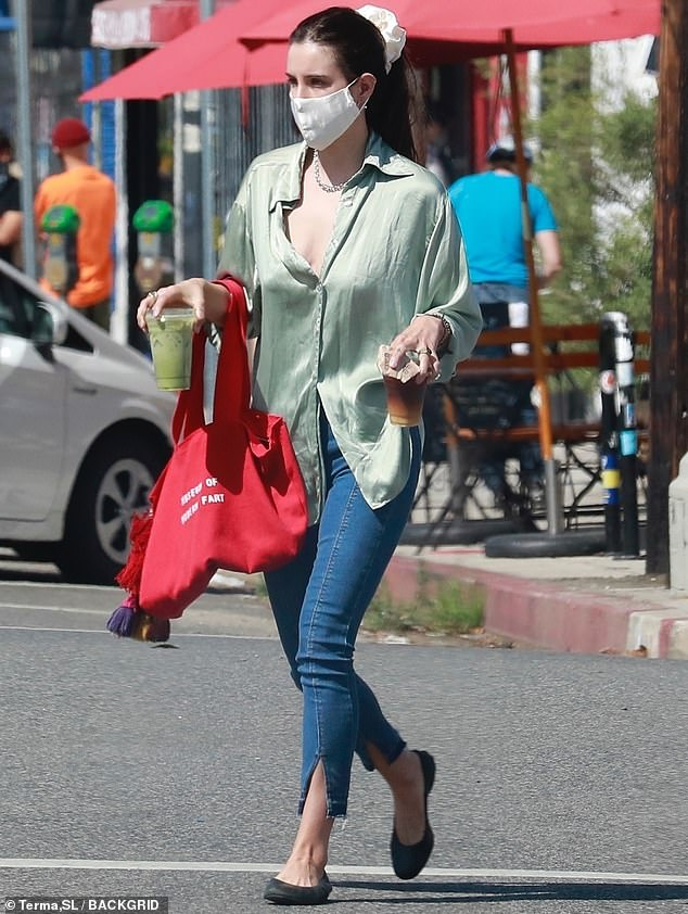 Legging it: Scout Willis could be seen enjoying the delights of the City Of Angels this week, stepping out for a green juice