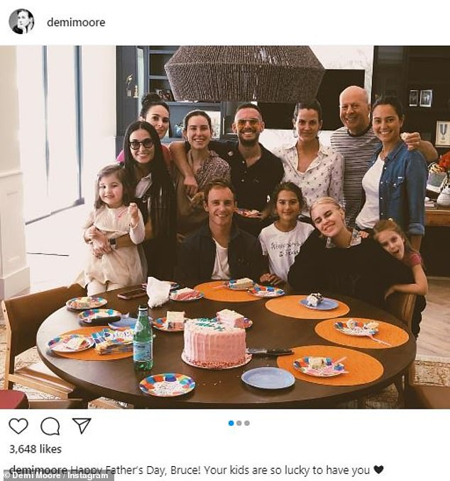 Meanwhile: Demi posted an Instagram picture showing herself in Idaho with a group of loved ones including Bruce, Emma, Rumer, Tallulah, Mabel and Evelyn