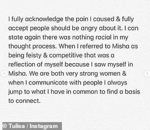 Acceptance: Tulisa said: 'I can see clearly that a black female was and is still hurt by my actions on The X Factor. That became overshadowed in my mind last week'