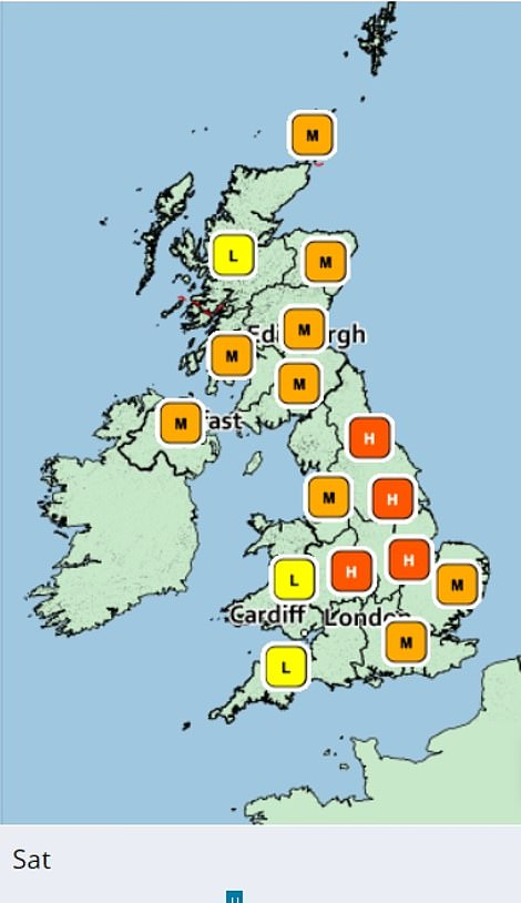 Pollen levels will remain fairly high on Saturday