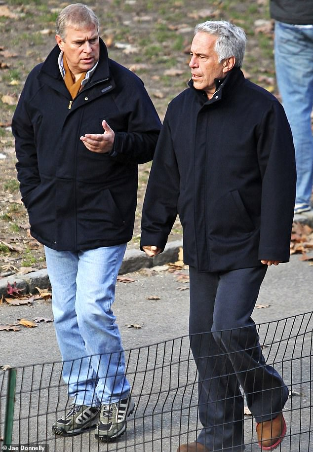 Kaufman claims she was introduced to Prince Andrew when she visited Epstein's home around December 2010. Prince Andrew and Epstein were pictured together in Central Park that same month (above)