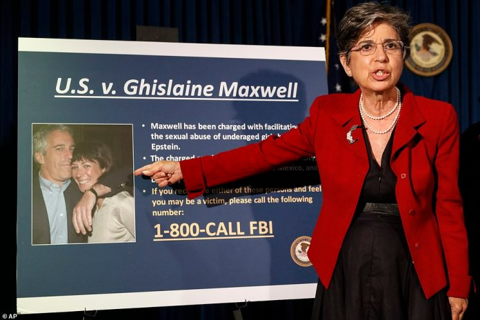 Audrey Strauss, Acting United States Attorney for the Southern District of New York, speaks at a press conference to announce the charges against Ghislaine Maxwell for her alleged role in the sexual exploitation and abuse of several underage girls by Jeffrey Epstein