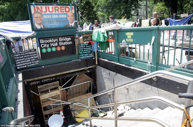 Brooklyn Bridge City Hall subway station was barricaded with wooden crates, metal railings and other debris