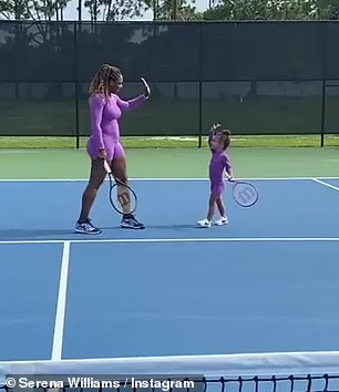 Serena also shared a video clip in which she and her daughter rose to five after the workout