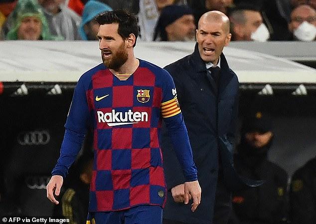 Le patron du Real Madrid, Zinedine Zidane (à droite), insiste pour qu'il souhaite que Lionel Messi reste à Barcelone