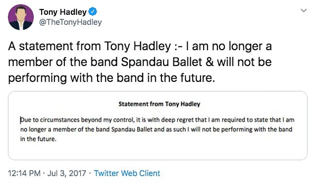 `` Beyond my control '': the new wave group successfully met for a number of world tours in 2009, but lead singer Tony, 60, left in 2017
