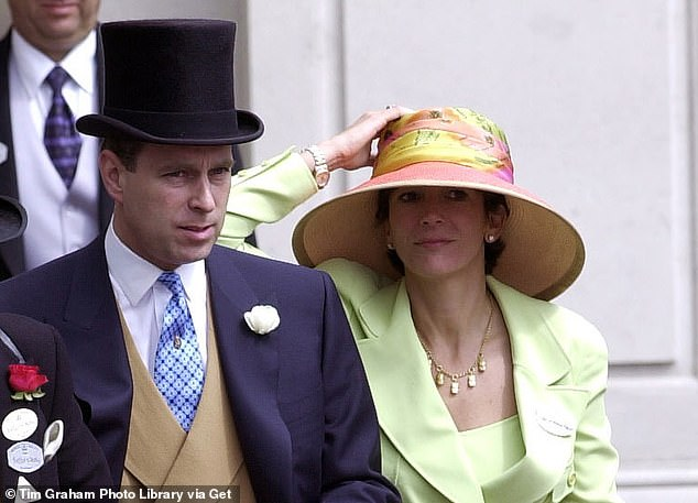Prince Andrew and his friend Ghislaine Maxwell attend Ladies Day at Ascot in June 2000