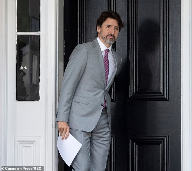 Trudeau lives in a cottage on the property where the governor general resides because the prime minister's traditional residence is in disrepair (pictured at home on Monday)