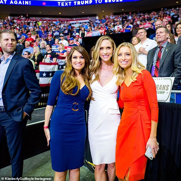 Kimberly Guilfoyle posted to instagram a photo of herself, Lara Trump and White House press secretary Kayleigh McEnany at the rally in Tulsa with caption: It was great to get back out on the campaign trail over the weekend with @realdonaldtrump and our amazing team. Full steam ahead! #MAGA #KAG2020