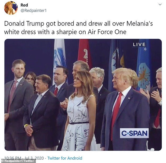 Several Twitter users said that Melania's dress looked like President Trump scribbled on the fabric with sharpie
