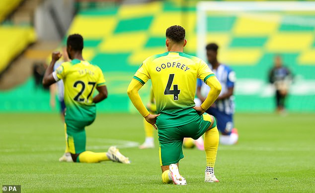 Norwich and Brighton's players took the knee before their lunchtime kick-off on Saturday