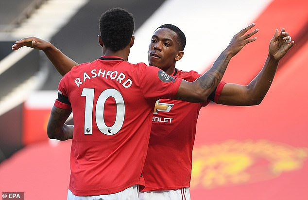 Solskjaer was pleased to see Anthony Martial and Marcus Rashford reach 20 goals this season