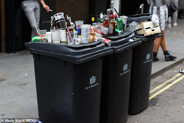 As the evening draws in, bins in Soho are being filled with plastic cups, tins and bottles by eager pub-goers
