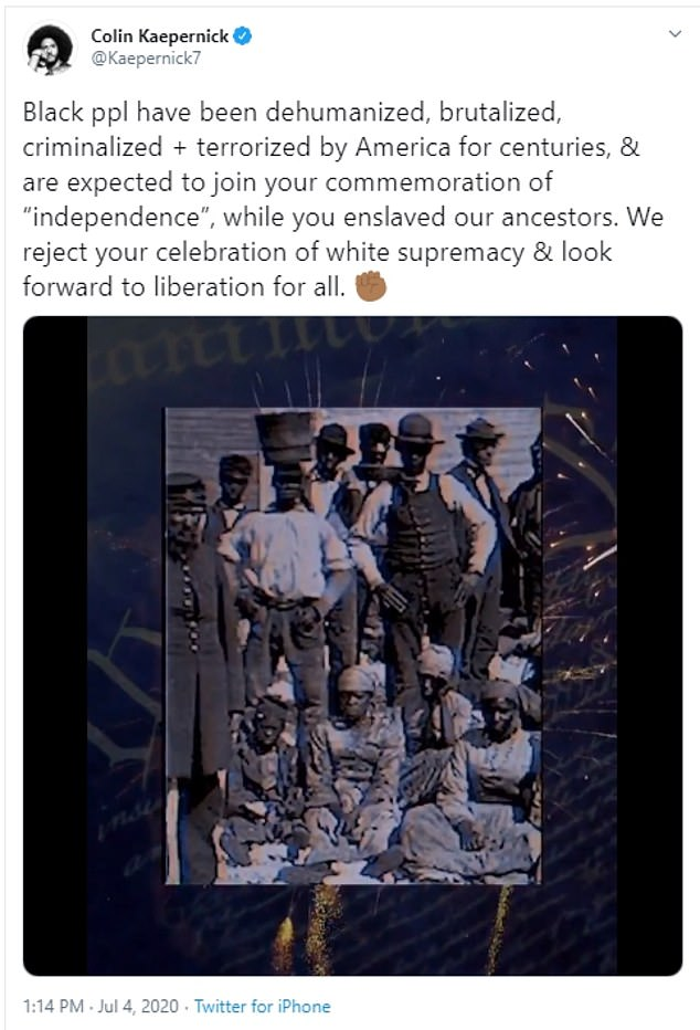 The star athlete and activist took to Twitter to share the powerful rejection, along with a video of actor James Earl Jones reciting Frederick Douglass's renowned speech 'What to the Slave Is the 4th of July?'