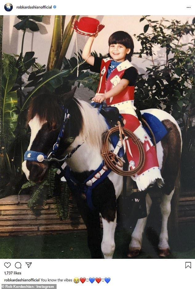 Cute: Earlier in the day, Kourtney Kardashian's brother shared his return from childhood in a red, white and blue western-inspired outfit on a horse
