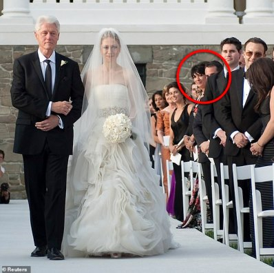 Maxwell has an astonishing network of high profile friends and acquaintances. She is shown at Chelsea Clinton's 2010 wedding