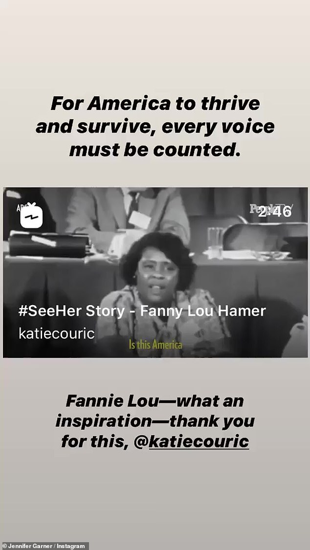 Inspiring:Jennifer Garner thanked her pal Katie Couric for sharing a speech by activist and Civil Rights leader Fannie Lou Hamer