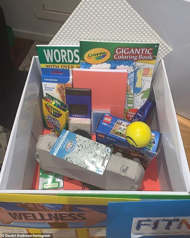 Every youngster holed up in the nine public housing complexes in Flemington and North Melbourne that have gone into lockdown will each receive one of these activity boxes