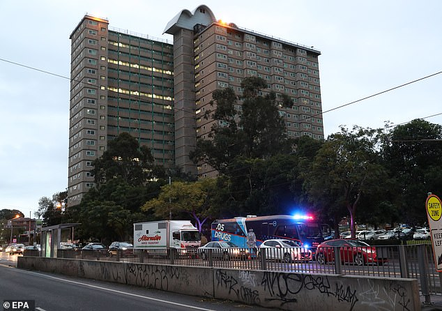 Towers in the suburbs of Flemington (pictured), Kensington and North Melbourne were put in a 'hard lockdown' on Saturday and will be closed for five days. Victorian Premier Daniel Andrews announced that people living in housing towers will not have to pay rent for the next fortnight
