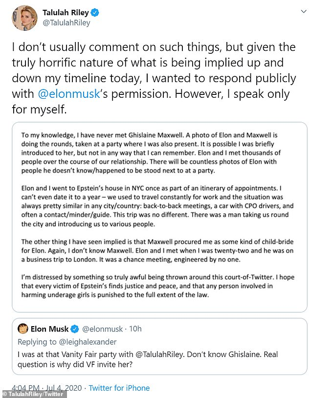 Riley, 34, took to Twitter Saturday blasting the rumors in a lengthy statement, which read: 'To my knowledge, I have never met Ghislaine Maxwell