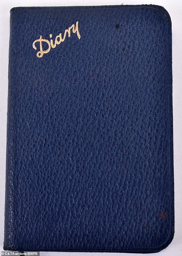 The Cambridge graduate kept a diary (pictured) of his stories during the war. He was presented with theCroix De Guerre, the highest French miltary honour for bravery in saving hurt soldiers under heavy German fire