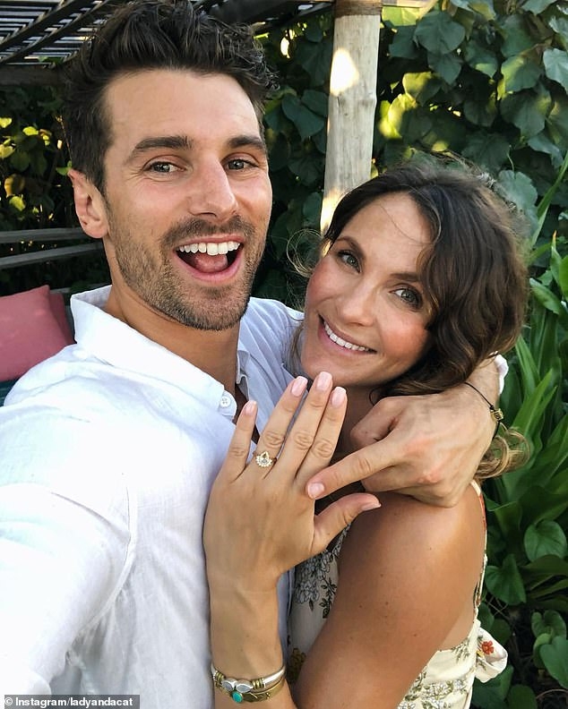 Loved up:The duo, who met on The Bachelor in 2017 announced their surprise engagement back in April 2019