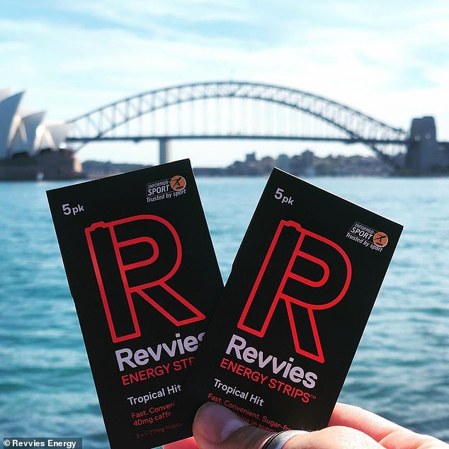 An array of fitness gurus and world champion runners have praised the Revvies Energy Strips (pictured) for providing an instant boost before a run or workout