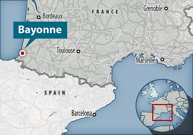 The gang of five got on the bus in Bayonne (shown on a map in south-western France) without wearing a masks and refused to show a ticket, it is alleged