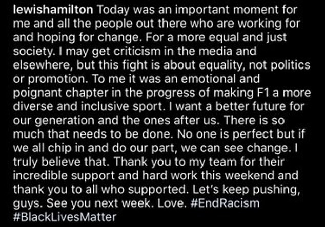 Hamilton tweeted after the race that `` this fight is about equality, not politics or promotion ''