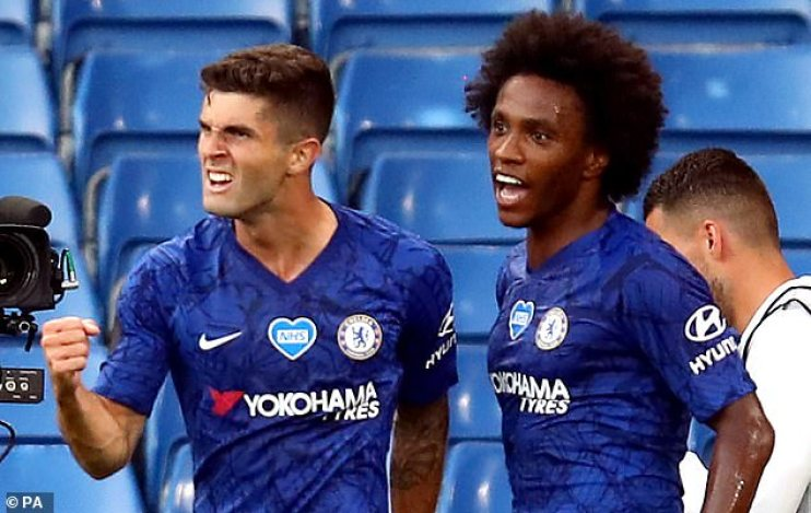 Hudson-Odoi is currently behind Christian Pulisic (left) and Willian in the Blues pecking order