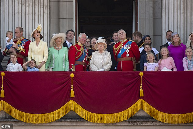 The Queen is joined by members of the royal family on the balcony of Buckingham Place watch the flypast after the Trooping the Colour ceremony, as she celebrated her official birthday on 8 July 2019